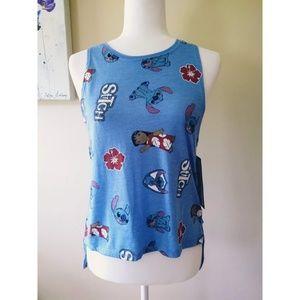 NWT Disney Lilo & Stitch Blue Hi Lo Tank Top Sz M